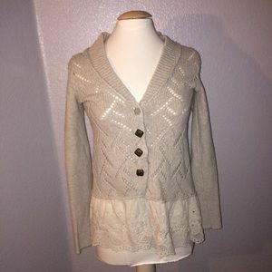 Free People Lace trimmed Cardigan Sweater  Small